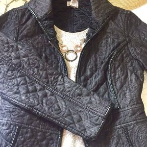 Chico's Jackets & Coats - Chico's dark denim floral quilted jacket